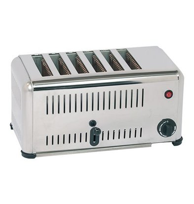 Caterchef Stainless Steel Toaster 6 slots with energy-saving switch - 46x21x (H) 23cm - 3000W