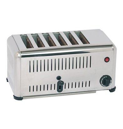 Caterchef Stainless Steel Toaster 6 Steckplätze mit Energiesparschalter - 46x21x (H) 23cm - 3000W