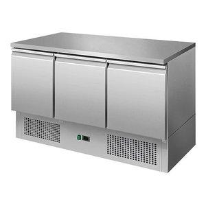 CaterCool Koelwerkbank - RVS - 3 deurs - 136x70x(h)85cm