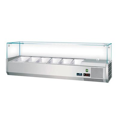 CaterCool Kühlvitrine Design - 5x 1/4 GN - 120x34x (H) 44 cm