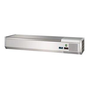 CaterCool Opzetkoelvitrine - 5x 1/4 GN - RVS deksel - 120x34x(H)24 cm
