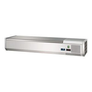 CaterCool Refrigerated display case design - 5x 1/4 GN - Stainless steel lid - 120x34x (H) 24 cm