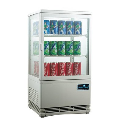 CaterCool Minikühlvitrine - Weiß - 58 Liter - 2 Roosters - 43x39x (h) 81 cm