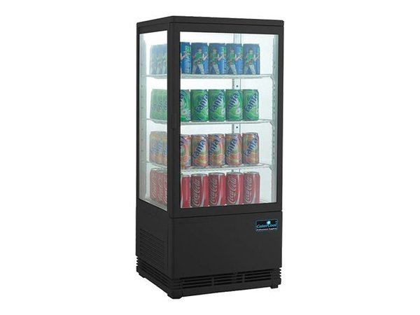 CaterCool Mini Refrigerated display case - black - 68 liters - 3 Roosters - 43x39x (h) 89cm