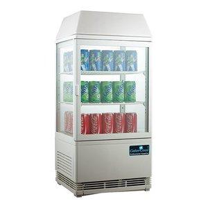 CaterCool Minikühlvitrine - Weiß - 58 Liter - Beleuchtetes Display - 43x39x (h) 93cm