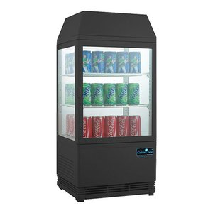 CaterCool Minikühlvitrine - schwarz - 58 Liter - Beleuchtetes Display - 43x39x (h) 93cm