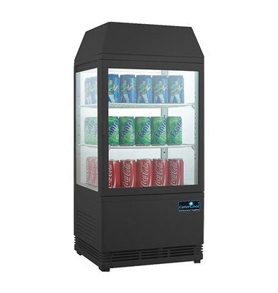 CaterCool Mini Refrigerated display case - black - 58 Liter - Backlit Display - 43x39x (h) 93cm