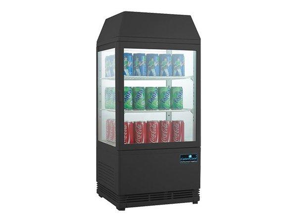 CaterCool Mini Refrigerated display case - black - 58 Liter - Backlit Display - 43x39x (h) 93cm