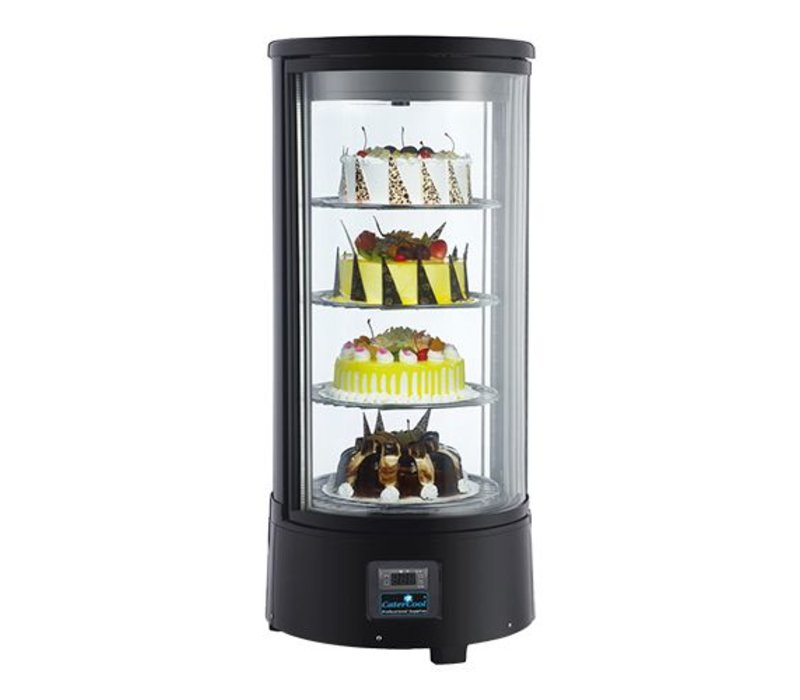 CaterCool Refrigerated display case Pastry design Black 4 layer - 72 liters - 930 (h) x450mm   rotating platforms