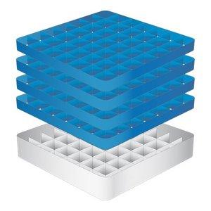 CaterRacks Fuß-Glaskorb - 49 Boxen - (h) 24 cm - 6,3 cm Durchmesser