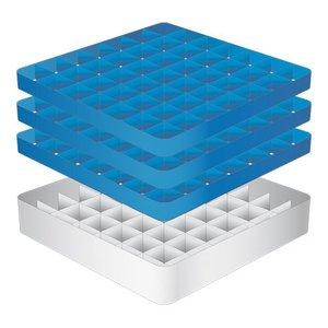 CaterRacks Fuß-Glaskorb - 49 Boxen - (h) 20 cm - 6,3 cm Durchmesser