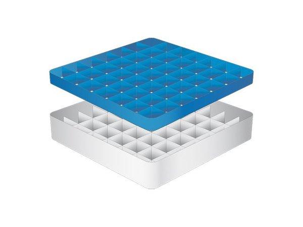 CaterRacks Fuß-Glaskorb - 49 Boxen - (h) 12 cm - 6,3 cm Durchmesser