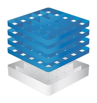 CaterRacks Foot glass basket - 25 boxes - (h) 24 cm - 9 cm diameter