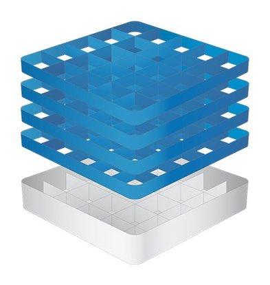CaterRacks Fuß-Glaskorb - 25 Boxen - (h) 24 cm - Durchmesser von 9 cm