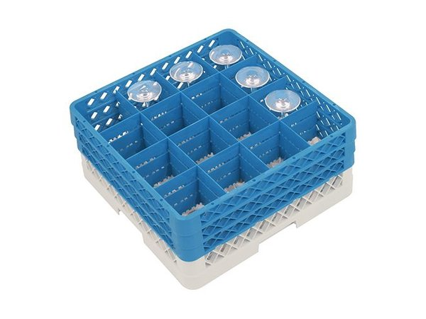 CaterRacks Fuß-Glaskorb - 16 Boxen - (h) 20 cm - 11,2 cm Durchmesser