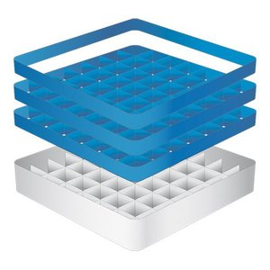 CaterRacks Beakers basket - 49 boxes - (h) 20 cm - 6.3 cm diameter