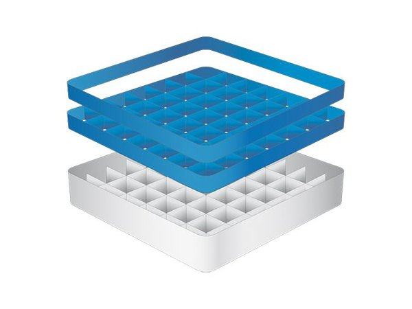 CaterRacks Beakers basket - 49 boxes - (h) 16 cm - 6.3 cm diameter
