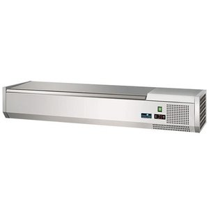 CaterCool Refrigerated display case design - 6x or 12x 1/3 GN 1/6 GN - Stainless steel lid - 140x40x (H) 24 cm