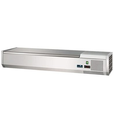CaterCool Kühlvitrine Design - 6x oder 12x 1/3 GN 1/6 GN - Deckel aus Edelstahl - 140x40x (H) 24 cm