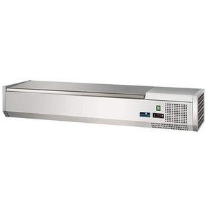 CaterCool Kühlvitrine Design - 4x oder 8x 1/3 GN 1/6 GN - Deckel aus Edelstahl - 120x40x (H) 24 cm