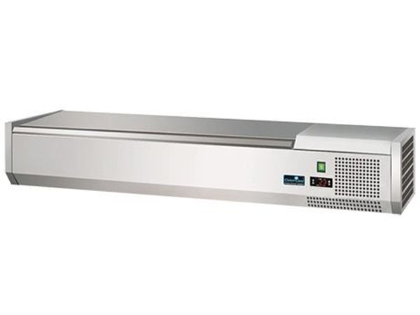 CaterCool Kühlvitrine Design - 3x 1/2 GN oder 6 x 1/4 GN - Deckel aus Edelstahl - 120x34x (H) 24 cm