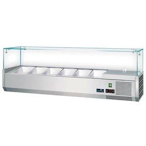 CaterCool Kühlvitrine Design mit Glasplatte 6x oder 12x 1/3 GN 1/6 GN - 140x40x (H) 44 cm