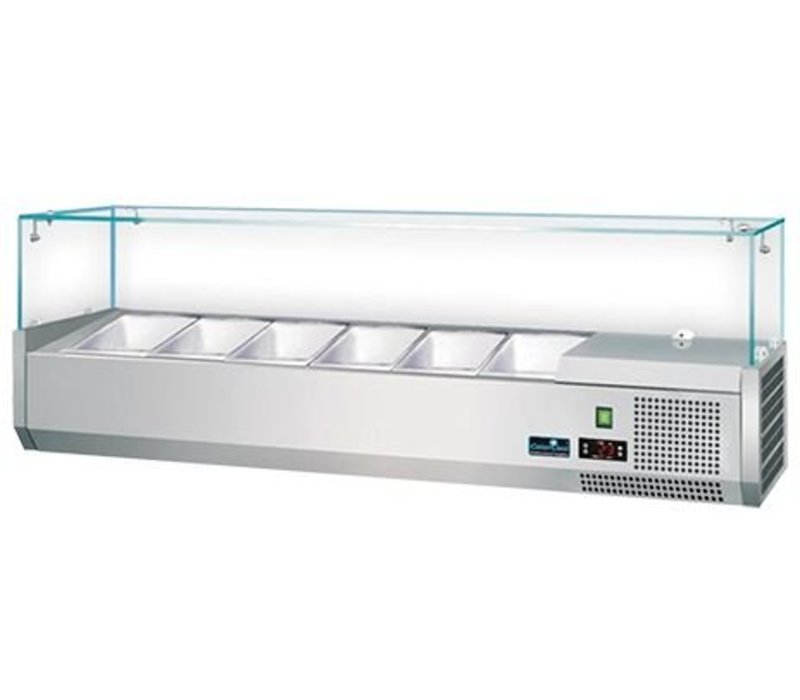CaterCool Opzetkoelvitrine met Glas Top 6x 1/3 GN of 12x 1/6 GN - 140x40x(H)44 cm