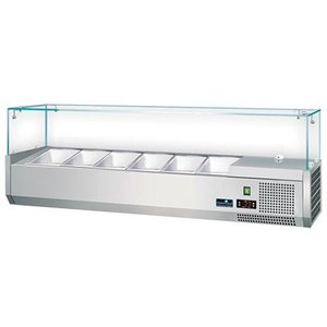 CaterCool Refrigerated display case Stainless steel design with Glass Top - 4x or 8x 1/3 GN 1/6 GN - 120x40x (H) 44 cm