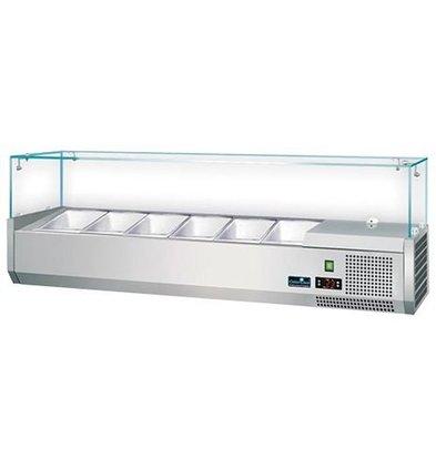 CaterCool Kühlvitrine Edelstahl-Ausführung mit Glasplatte - 3 x 1/2 GN oder 6 x 1/4 GN - 140x34x (H) 44 cm