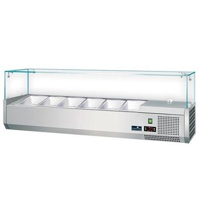 CaterCool Refrigerated display case Stainless steel design with Glass Top - 3 x 1/2 GN or 6 x 1/4 GN - 140x34x (H) 44 cm