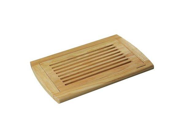 Emga Bread Cutting Board - rubberwood with crumb catcher - 420x280x (h) 20mm