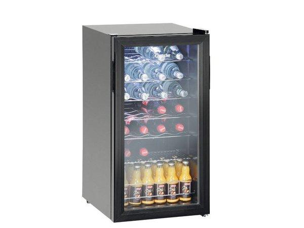 Bartscher Flaschen Kühlschrank / Wein Kühlschrank 28 Flaschen - 88 Liter - LED-Beleuchtung - 430x480x (H) 820mm