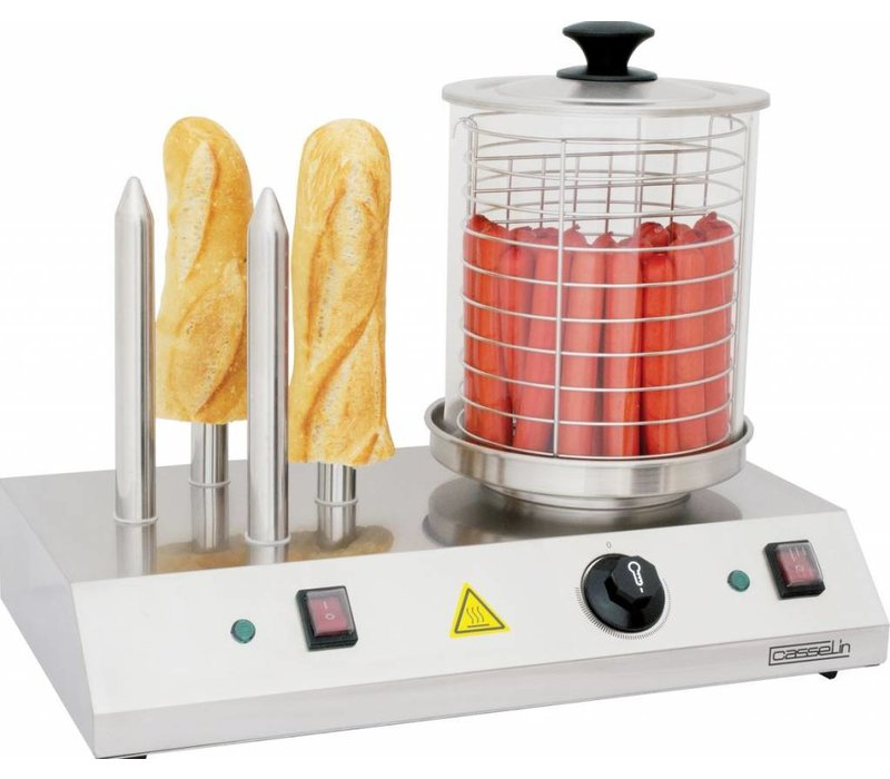 Casselin Hot Dog Station - With four heating elements - Stainless steel - 500x285x (H) 390mm