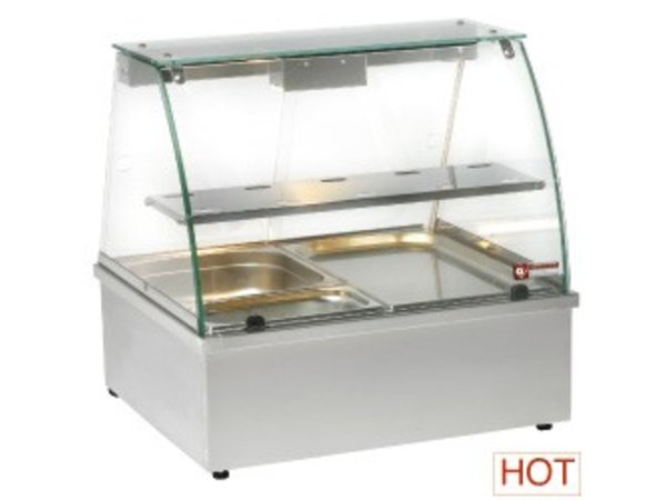 Diamond Warmvitrine RVS - 1 Rooster - 2 x GN 1/1 RVS - 695x602x(h)680mm