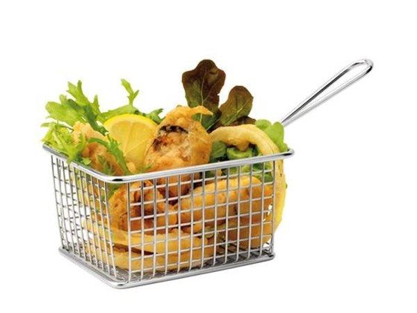 XXLselect Food Presentatie Mand Mini RVS   Rechthoekig   8x14x11cm