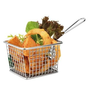 XXLselect Food Presentation Basket Mini Stainless Steel   Rectangle   8x10x8cm