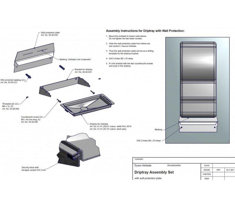 XXLselect Wateropvangbak / Lekbak voor Dyson Handdroger (Universeel)   WIT + RVS Spatwand