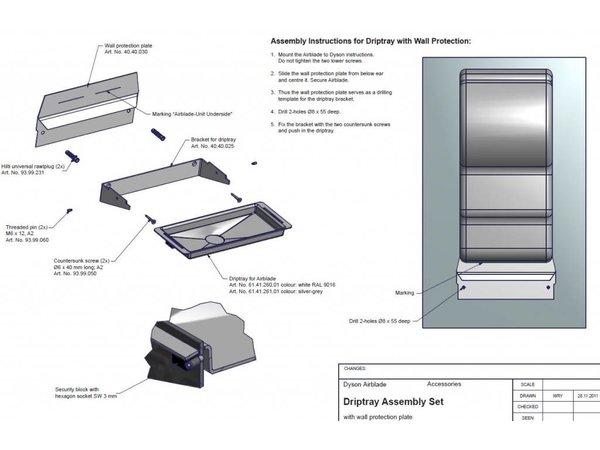 XXLselect Wateropvangbak / Lekbak voor Dyson Handdroger (Universeel)   GRIJS + RVS Spatwand