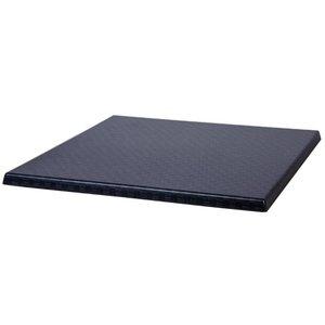 Bolero Werzalit kunststof riet antraciet tafelblad, vierkant 70x70 cm