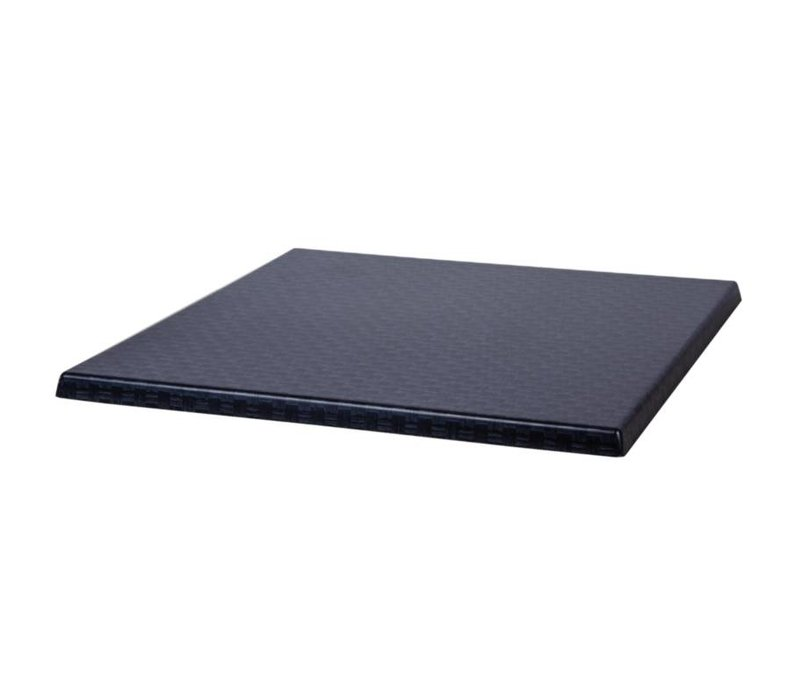 Bolero Werzalit plastic reed anthracite table top, square 60x60cm