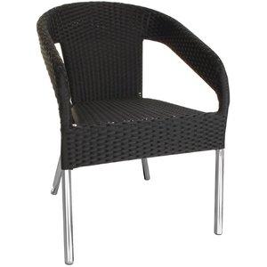 Bolero Black Stackable Chairs Rattan - Plastic DELUXE - Price per 4 pieces