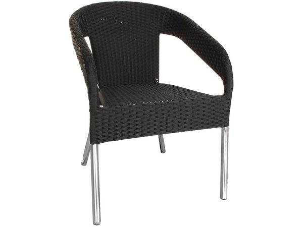Bolero Schwarz stapelbare Stühle Rattan - Kunststoff DELUXE - Preis für 4 Stück
