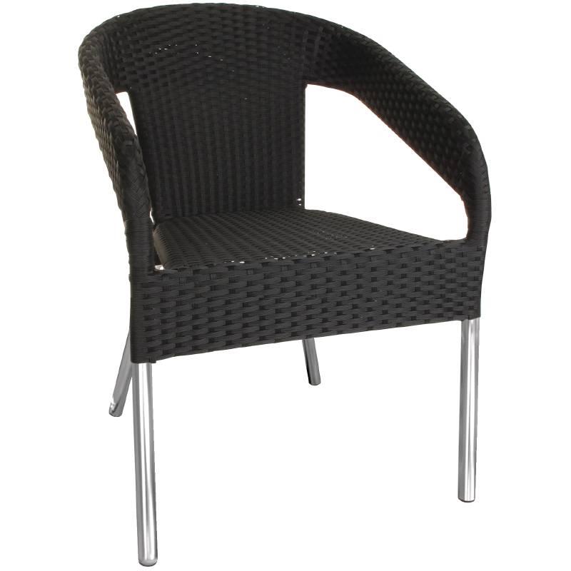 Bolero Black Stackable Chairs Rattan Plastic Deluxe Price Per 4 Pieces