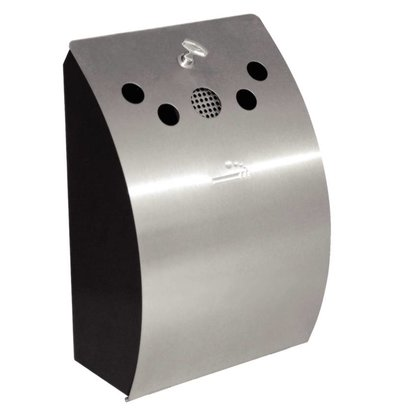 Bolero Stainless steel wall ashtray | with removable tray | Lockable | 250x140x (h) 350mm