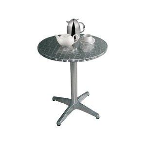 Bolero Bistro table - Aluminium Frame - Stainless steel Worktop - 72 (H) x 800 (Ø) mm