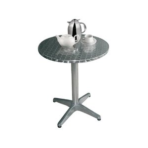 Bolero Bistrotisch - Aluminiumrahmen - Arbeitsplatte aus Edelstahl - 72 (H) x 800 (Ø) mm