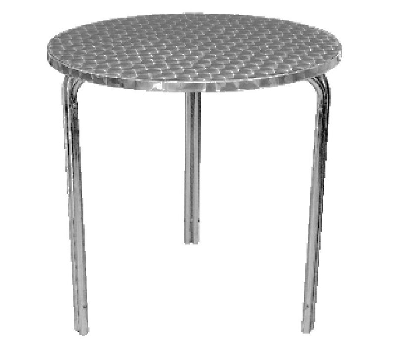 Bolero Terrasse Round Table - Aluminiumrahmen - Arbeitsplatte aus Edelstahl - 72 (H) x60 (Ø) mm