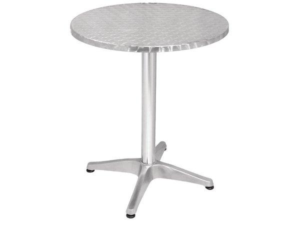 Bolero Bistrotisch Round - Aluminiumrahmen - Arbeitsplatte aus Edelstahl - 72 (H) x60 (Ø) mm