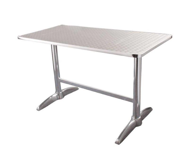 Bolero Catering Tabelle - Aluminiumrahmen - Arbeitsplatte aus Edelstahl - 75 (H) x120x60cm