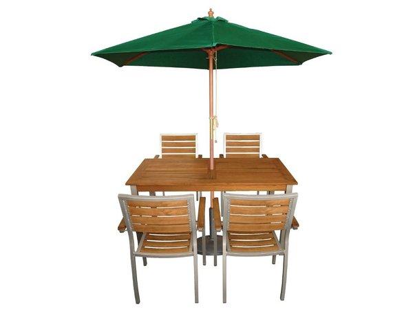 Bolero Sonnenschirm Rund mit Riemenscheiben-Mechanismus - Farbe Grün - 3 Meter Durchmesser